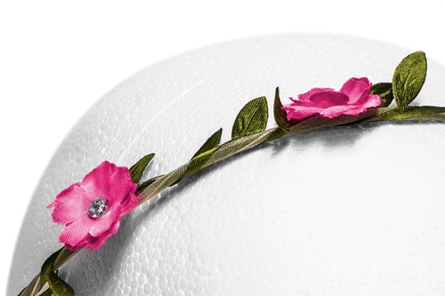 Bloemenhaarband Pink met Strass-2