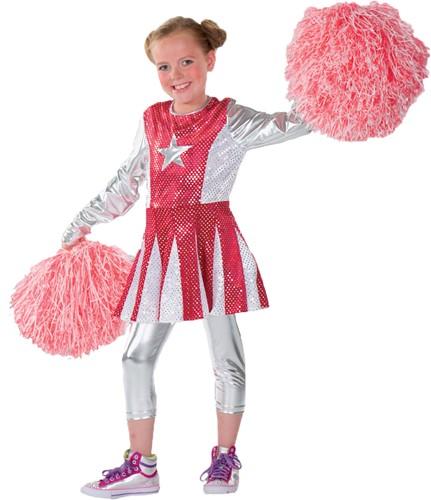 Meisjeskostuum Cheerleader Luxe Rood