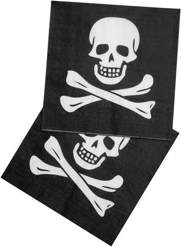 Servetten Doodshoofd Piraat 12st.
