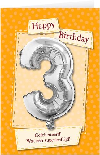 Leeftijd Ballonnen Giftcard 3 jaar 30cm