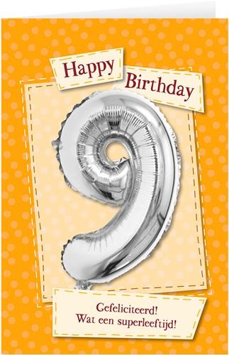 Leeftijd Ballonnen Giftcard 9 jaar 30cm