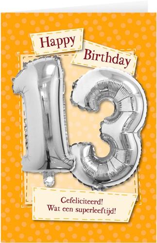 Leeftijd Ballonnen Giftcard 13 jaar 30cm