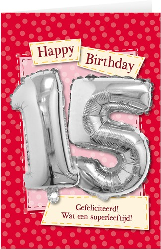 Leeftijd Ballonnen Giftcard 15 jaar 30cm