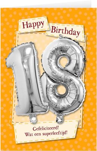 Leeftijd Ballonnen Giftcard 18 jaar 30cm