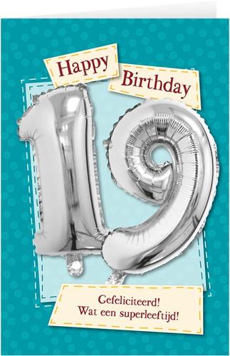 Leeftijd Ballonnen Giftcard 19 jaar 30cm