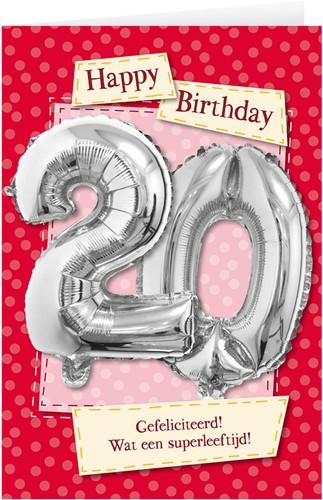 Leeftijd Ballonnen Giftcard 20 jaar 30cm