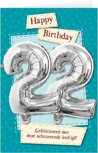 Leeftijd Ballonnen Giftcard 22 jaar 30cm