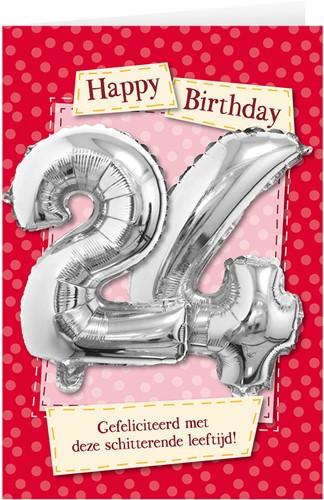Leeftijd Ballonnen Giftcard 24 jaar 30cm