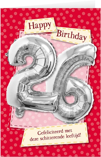 Leeftijd Ballonnen Giftcard 26 jaar 30cm