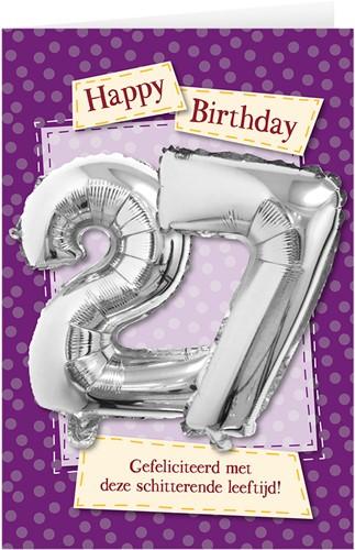Leeftijd Ballonnen Giftcard 27 jaar 30cm