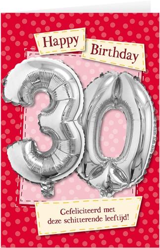 Leeftijd Ballonnen Giftcard 30 jaar 30cm