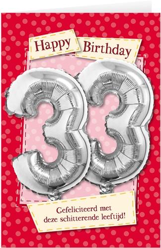 Leeftijd Ballonnen Giftcard 33 jaar 30cm