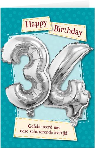 Leeftijd Ballonnen Giftcard 34 jaar 30cm