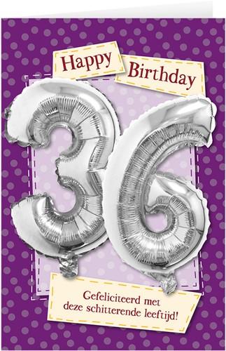Leeftijd Ballonnen Giftcard 36 jaar 30cm
