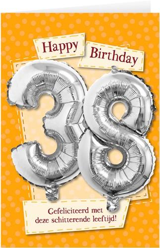 Leeftijd Ballonnen Giftcard 38 jaar 30cm