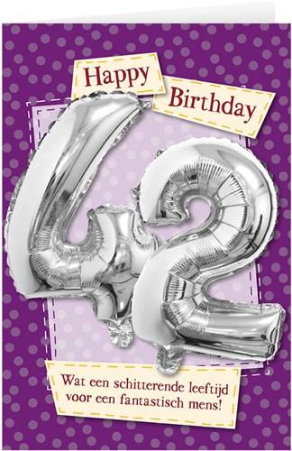Leeftijd Ballonnen Giftcard 42 jaar 30cm