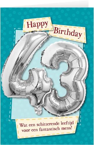 Leeftijd Ballonnen Giftcard 43 jaar 30cm