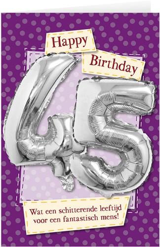 Leeftijd Ballonnen Giftcard 45 jaar 30cm