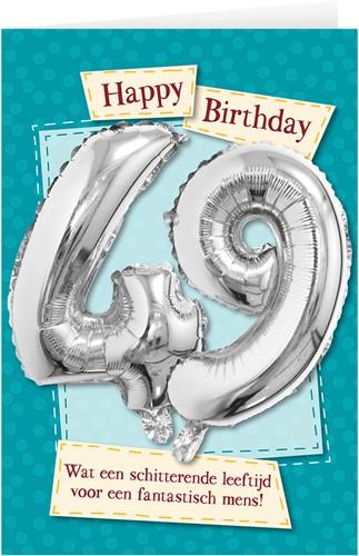 Leeftijd Ballonnen Giftcard 49 jaar 30cm