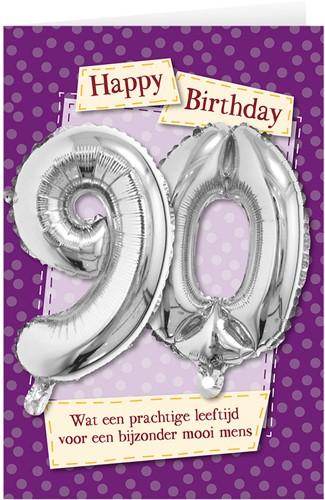 Leeftijd Ballonnen Giftcard 90 jaar 30cm