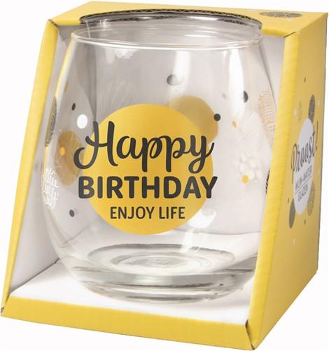 Wijn/Waterglas Proost Happy Birthday