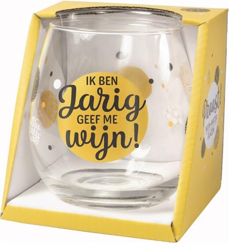 Wijn/Waterglas Proost IK Ben Jarig