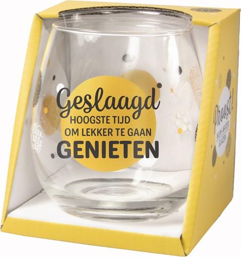 Wijn/Waterglas Proost Geslaagd Hoogste Tijd