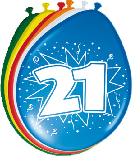Ballonnen 21 jaar 8st