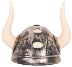 Viking Helm Zilver met Grote Hoorns