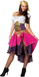 Damesjurk Zigeunerin Paars-Pink-Wit