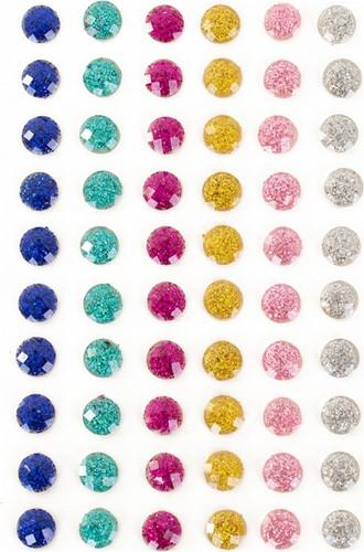 Body Jewel Rondje Glitter 6mm 6 Kleuren 60st.