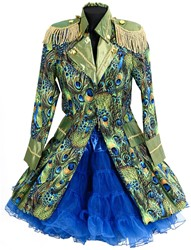 Dames Carnavalsjas Peacock Lang Luxe