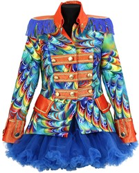 Dames Blazer Orange Rainbow Feathers