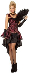 Damesjurk Burlesque Bordeaux Rood/Zwart