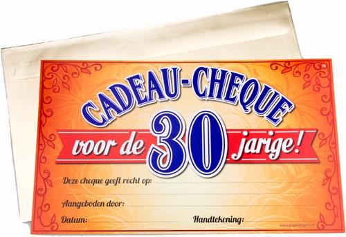 Cadeau Cheque 30 Jarige