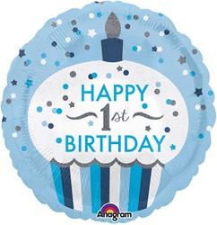 Folieballon Happy 1st Birthday Boy (45cm)