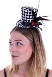 Diadeem met Mini Hoedje Zwart -Wit Geblokt