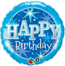 Folieballon Happy Birthday blauw