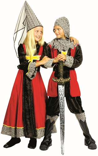 Kostuum Jonkvrouw Rood-Zwart voor meisjes