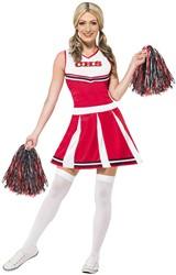 Dameskostuum Cheerleader Rood/Wit