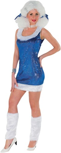 Pailletten Jurkje Glitter+Beenwarmers Blauw