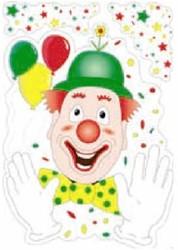 Raamdecoratie Clown 35x50cm Brandvertragend