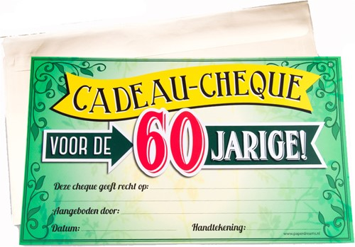 Cadeau Cheque 60 Jarige
