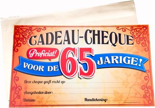 Cadeau Cheque 65 Jarige