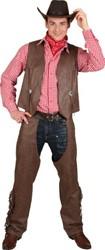 Cowboy Kostuum - Chaps met Vest Bruin