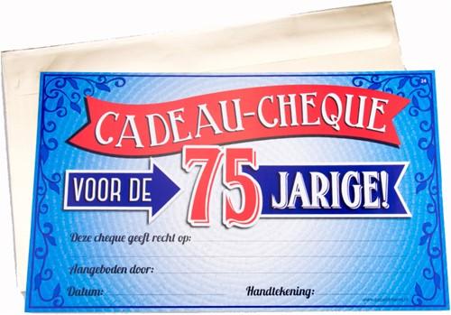 Cadeau Cheque 75 Jarige