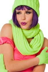Gebreide Sjaal Rond Neon Groen