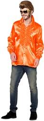 Disco Ruches Blouse Luxe Neon Oranje