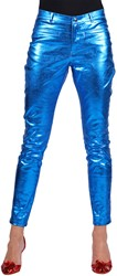 Dames Stretchbroek Metallic Blauw