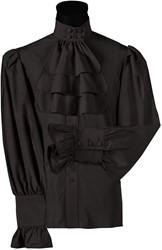 Blouse met Jabot Zwart Luxe voor heren